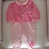 Macacão rosa de poa com casaquinho lindo - Baby Classic - 9 a 12 meses - Baby Classic