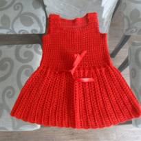 vestido vermelho - 3 meses - Feito à mão