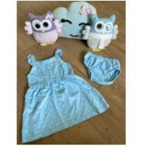 Vestido azul bolinha - 1 ano - Carter`s