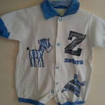 Macacão branco com estampa em tom azul - 0 a 3 meses - Smoby Baby