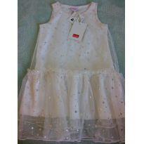 Vestido tule branco com estrelas prateadas tamanho 2 novinho - 2 anos - Popcorn