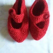 Sapatinho vermelho de lã - 13 - Feito à mão