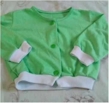 Casaquinho verde e branco - Recém Nascido - Feito à mão