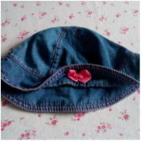 Chapéu jeans levinho com laço rosa Anuska - 6 a 9 meses - Anuska