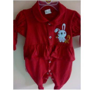 Macacão vermelho coelhinha m - 3 meses - Maribene Baby