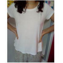 Camiseta manga curta branca Desapego da Malu - 14 anos - Não informada