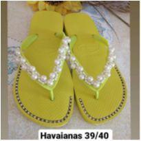 Chinelo decorado Havaianas verde Limão Tam 39