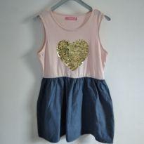 Vestido coração de lantejoulas douradas Marisa tamanho 8 código 13a - 8 anos - marisa