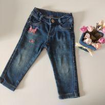 Calça jeans molinho Borboletas tamanho 1 cód 14 - 1 ano - Mimosinha
