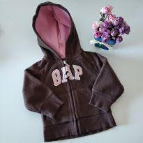 Casaco em Fleece Baby Gap Marrom e Rosa =) 12-18 M - 12 a 18 meses - Baby Gap