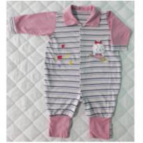 Macacão de Malha Listrado - 6 a 9 meses - Carollina baby acessórios