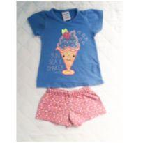 Conjunto Shake Azul e Floral - 1 ano - Valeen kids