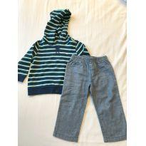 Conjunto calça + casaco com capuz listrado CARTER´S - 18 a 24 meses - Carter`s