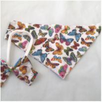 Conjunto babador bandana e laço borboletas -  - Não informada