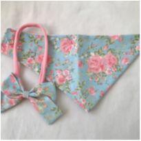 Conjunto babador bandana e laço rosa e azul -  - Não informada