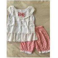 Conjunto short bolinhas e blusa bordado - 18 a 24 meses - Marca não registrada