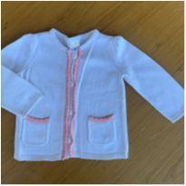 Casaquinho branco e rosa - 9 a 12 meses - Gymboree