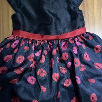 Vestido social preto com floral 18-24 meses - 18 a 24 meses - Gymboree