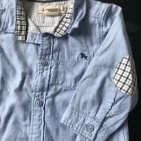 Camisa L.o.o.g HM azul gola xadrez - 9 a 12 meses - H&M