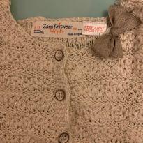 Casaco trico nude com lacinho - 9 a 12 meses - Zara Baby