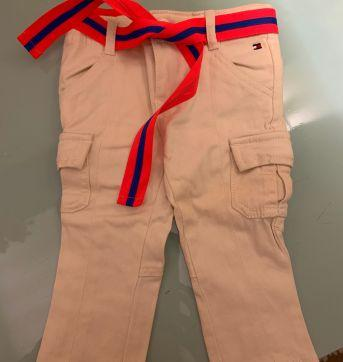 Calca Tommy Nude com cinto Fluor - 1 ano - Tommy Hilfiger