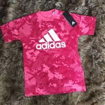 Camiseta Malhada Rosa Adidas (com etiqueta!) - 7 anos - Adidas e Nike