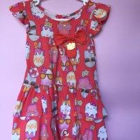 PRIMAVERA B1104 Vestido Hello Kitty - 2 anos - Malharia Cristina