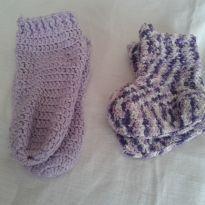2 meias  em trico - 6 a 9 meses - Artesanal