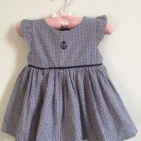 Vestido xadrez azul marinho! - 9 meses - Pinni