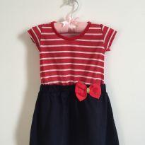Vestido Marinheira :) listras vermelhas e saia azul marinho - 6 a 9 meses - sem etiqueta