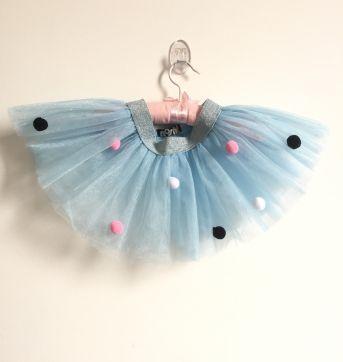 Body Brilhoso NOSH + Saia Tule azul de bolinhas - 9 a 12 meses - Nosh