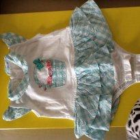 Body com saia azul e branco com xadrez - 0 a 3 meses - Anjos baby