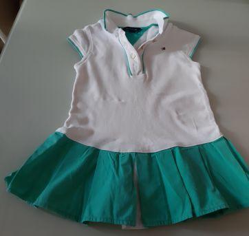 Vestido Tommy Branco e Verde água - 18 meses - Tommy Hilfiger