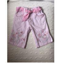 Calça rosa florida com cinto - 1 ano - Faded Glory (EUA)