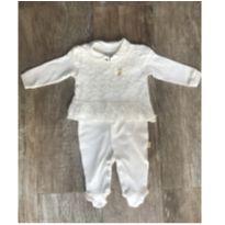 Macacão Off White com Tule Paraíso - 3 meses - Paraíso Moda Bebê
