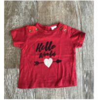 Camiseta Hello Vermelha Tip Top - 3 a 6 meses - Tip Top
