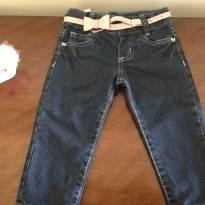 Calça Jeans com cinto rosa - Linda! - 1 ano - Não informada