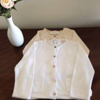Conjunto casaquinhos Zara - Branco e bege/douradinho - 9 a 12 meses - Zara Baby