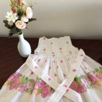 Vestido floral com faixa na cintura - 1 ano - Não informada