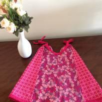 Vestido rosa estampado de alcinhas - 2 anos - Não informada