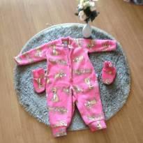 Macacão/pijama  plush rosa com sapatinho - 9 a 12 meses - Não informada