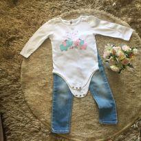 Conjunto calça jeans Zara e body manga longa de elefantinho - 2 anos - Zara Baby