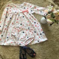 Vestido estampado com tapa fralda Carter's e sapatilha plástica - 18 meses - Carter`s