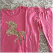 Conjunto rosa e dourado legging e camiseta Children's Place - 4 anos - The Children`s Place