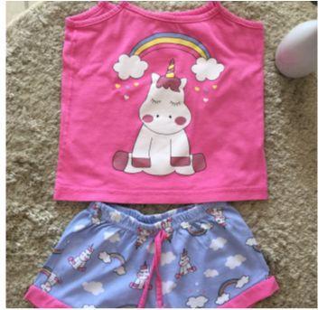 Pijama unicórnio pink e azul - 4 anos - De Millus