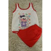 Pijama ursinha vermelho - 1 ano - Não informada