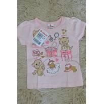 Blusa gatinho rosa claro e dourada - 9 meses - Brandili