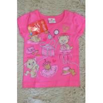 Blusa gatinho rosa e dourada - 3 meses - Brandili