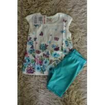 Conjunto blusa floral e bermuda verde - 6 meses - Brandili