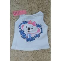 Blusa regata Baby Lilica -branca e rosa. - 3 a 6 meses - Lilica Ripilica